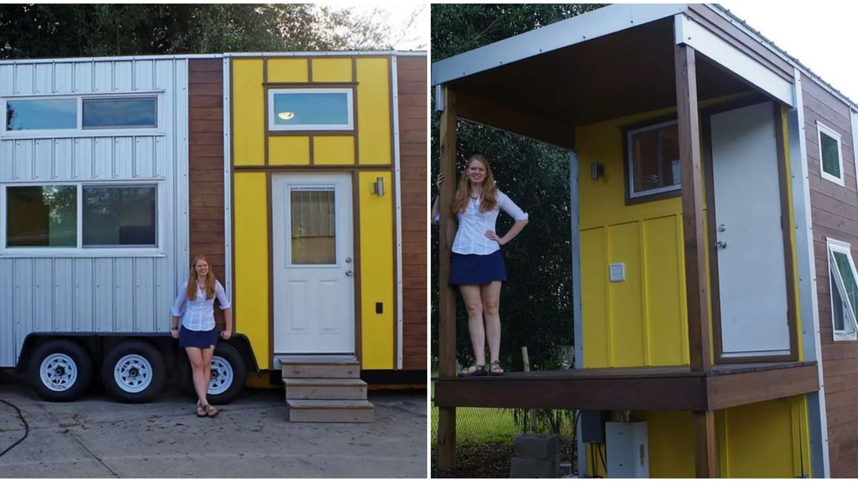 This Two Story Mobile Tiny Home For Sale In Florida Has A Balcony And Lots Of Storage