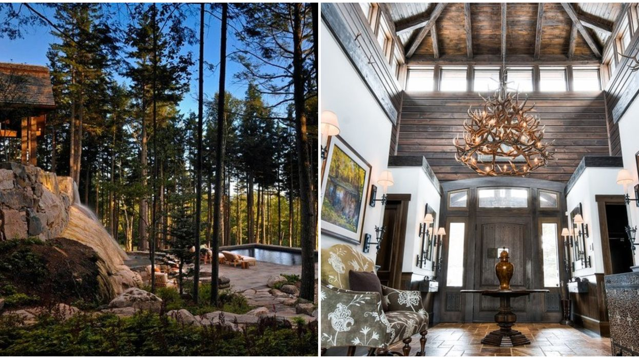 Quebec Mansion Has Its Own Waterfall & It's Like A Private Mountain Retreat