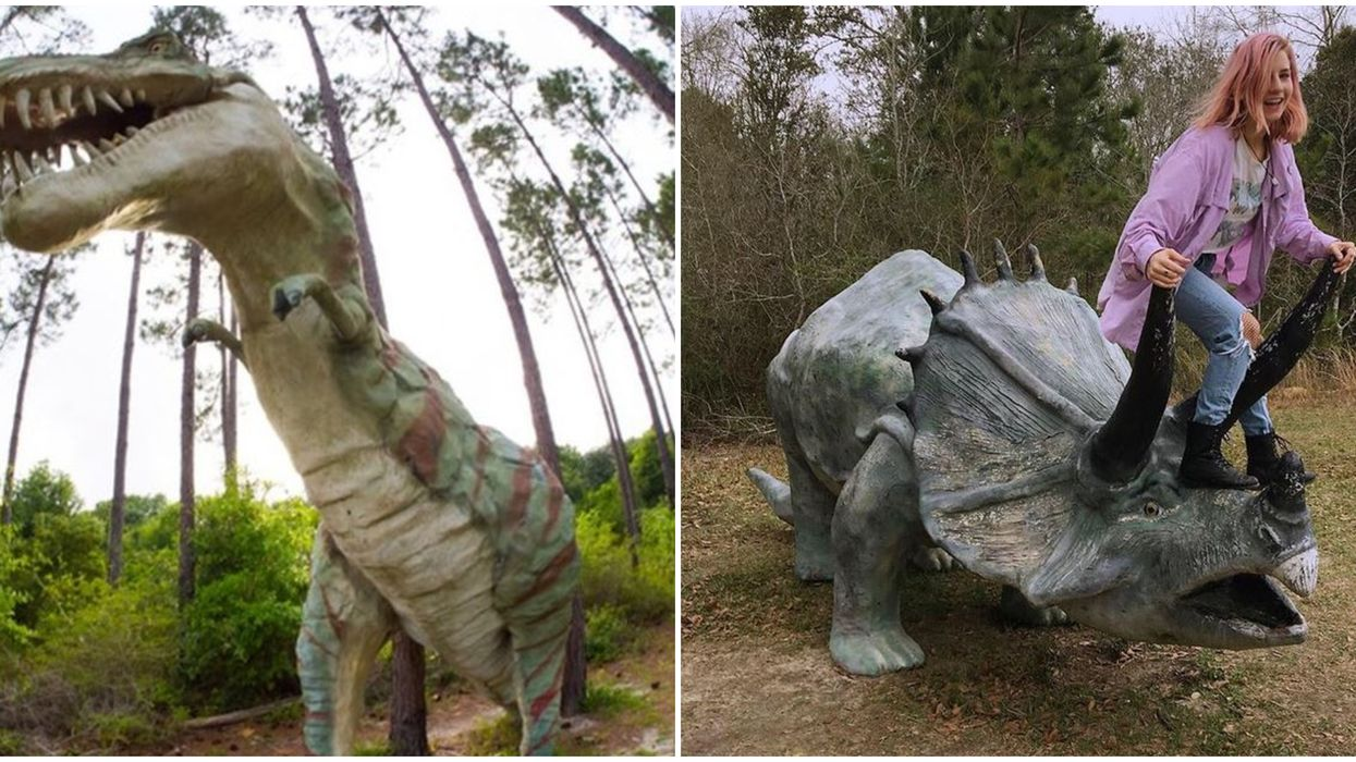 You Can Visit These Creepy Dinosaur Sculptures In These Alabama Woods