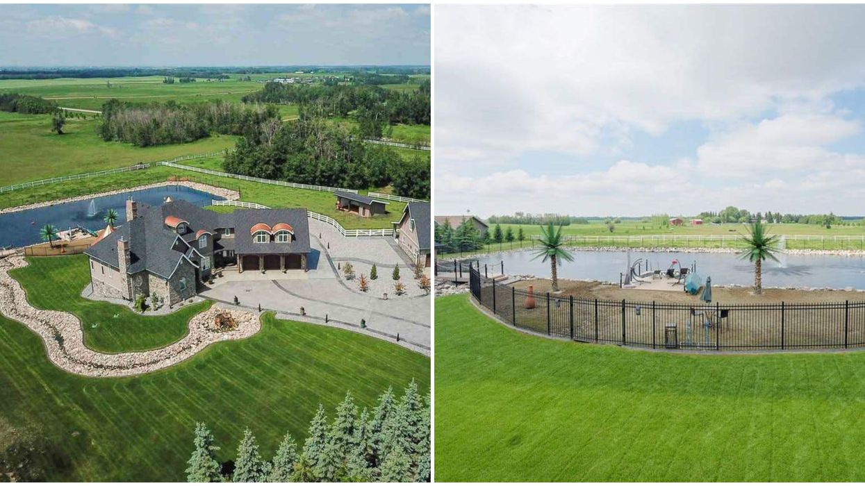 Real Estate In Alberta : This Country Mansion Has It's Own Palm Tree-Lined Beach