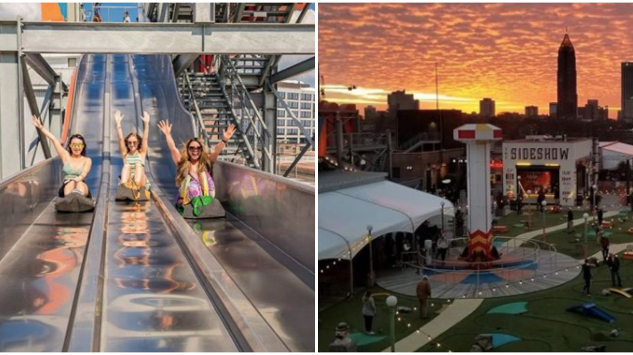 Best Bars In Atlanta Skyline Park Rooftop At Ponce City Market Is Like A Mini Carnival