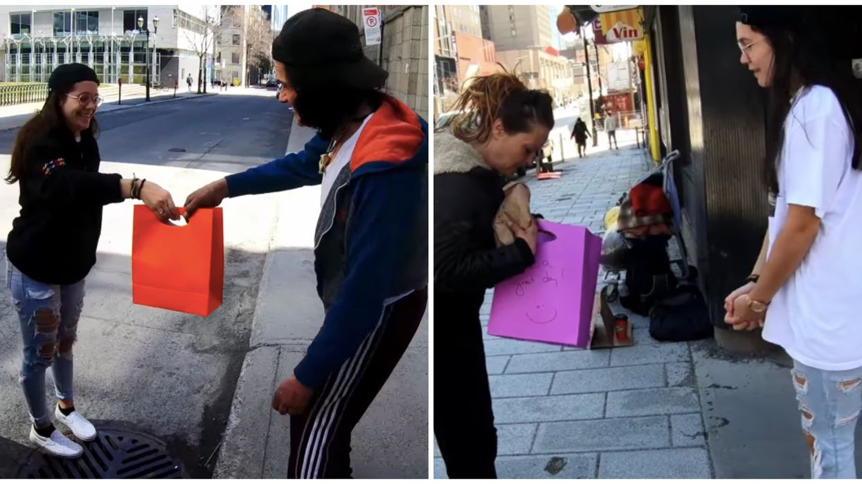 Cette Montréalaise distribue des sacs cadeaux aux itinérants dans les rues du centre-ville
