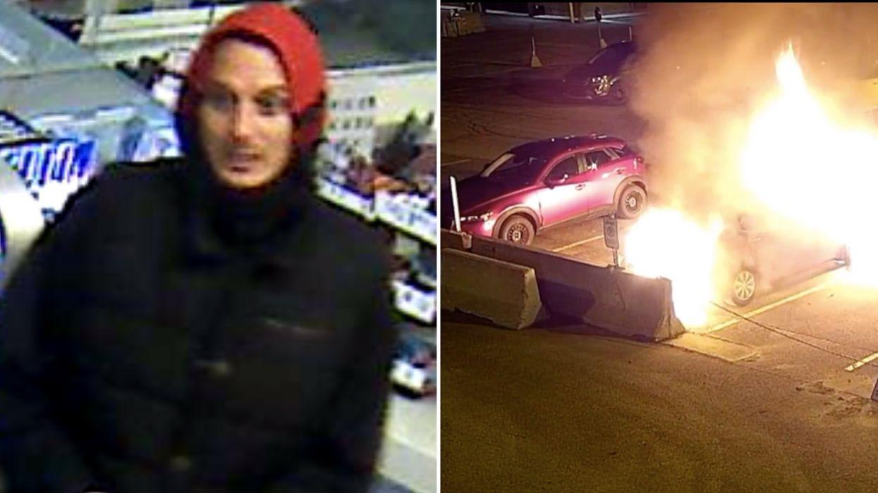 La police de Longueuil recherche cet homme ayant commis un incendie criminel (VIDÉOS)