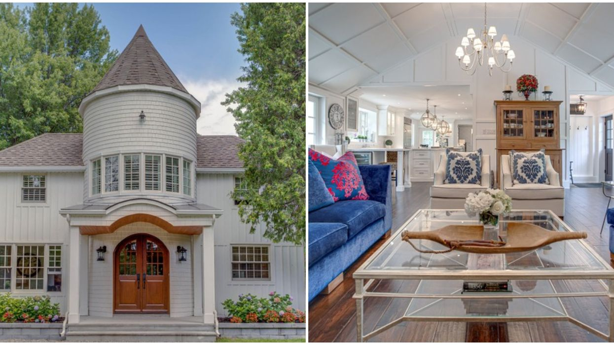 Mansion In Quebec Has Major Castle Vibes With A Turret & Vaulted Ceilings