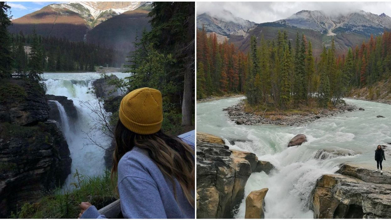 Alberta Has A Glacier-Fed Waterfall Shaped Like A Donut & It's Super Easy To Get To