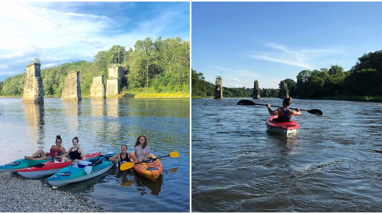 Ontario's Grand River Has Historic Railway Ruins You Can Paddle Past