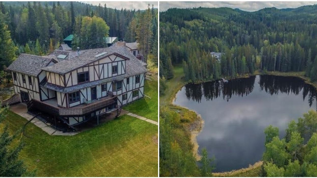 Alberta Property For Sale Has 2 Stunning Private Lakes & A Huge Country Mansion