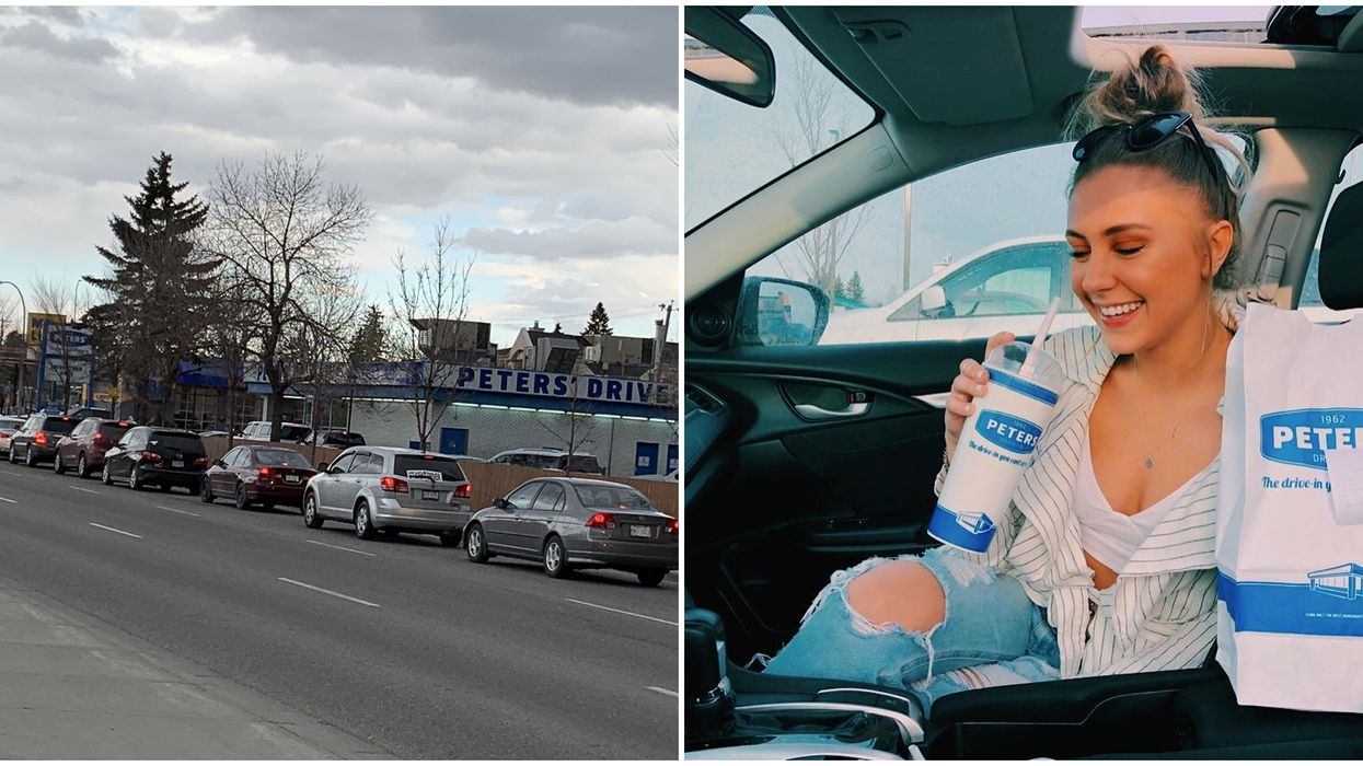 Peters' Drive-In Opened In Edmonton & Almost 100 Cars Lined Around The Block