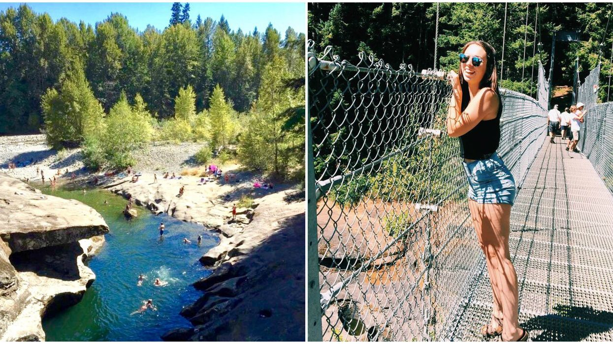 Swimming Hole in BC Also Has A Secret Suspension Bridge That Is Super Easy To Find