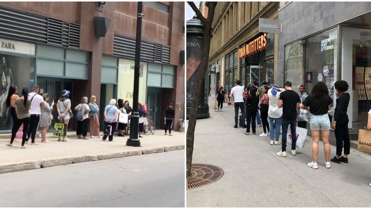 Réouverture de commerces à Montréal : Difficile de respecter la distanciation physique