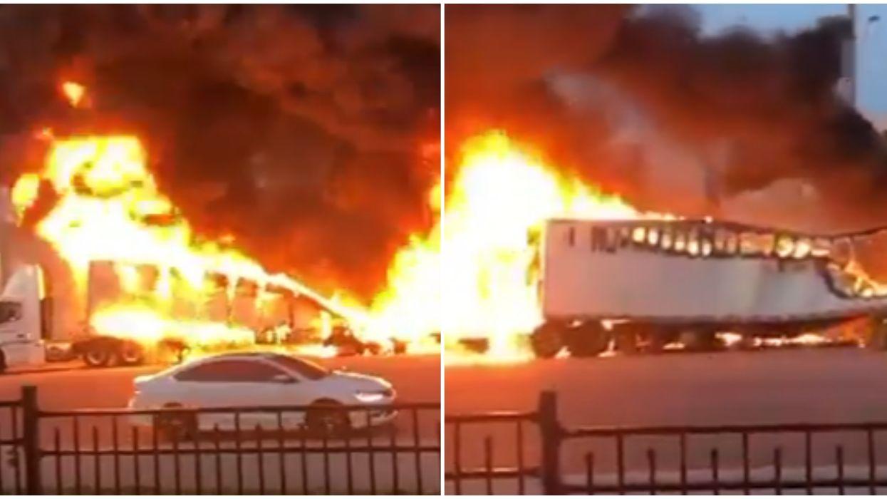 Brampton Truck Crash Causes Apocalyptic Scene With Giant Fireball And Black Smoke