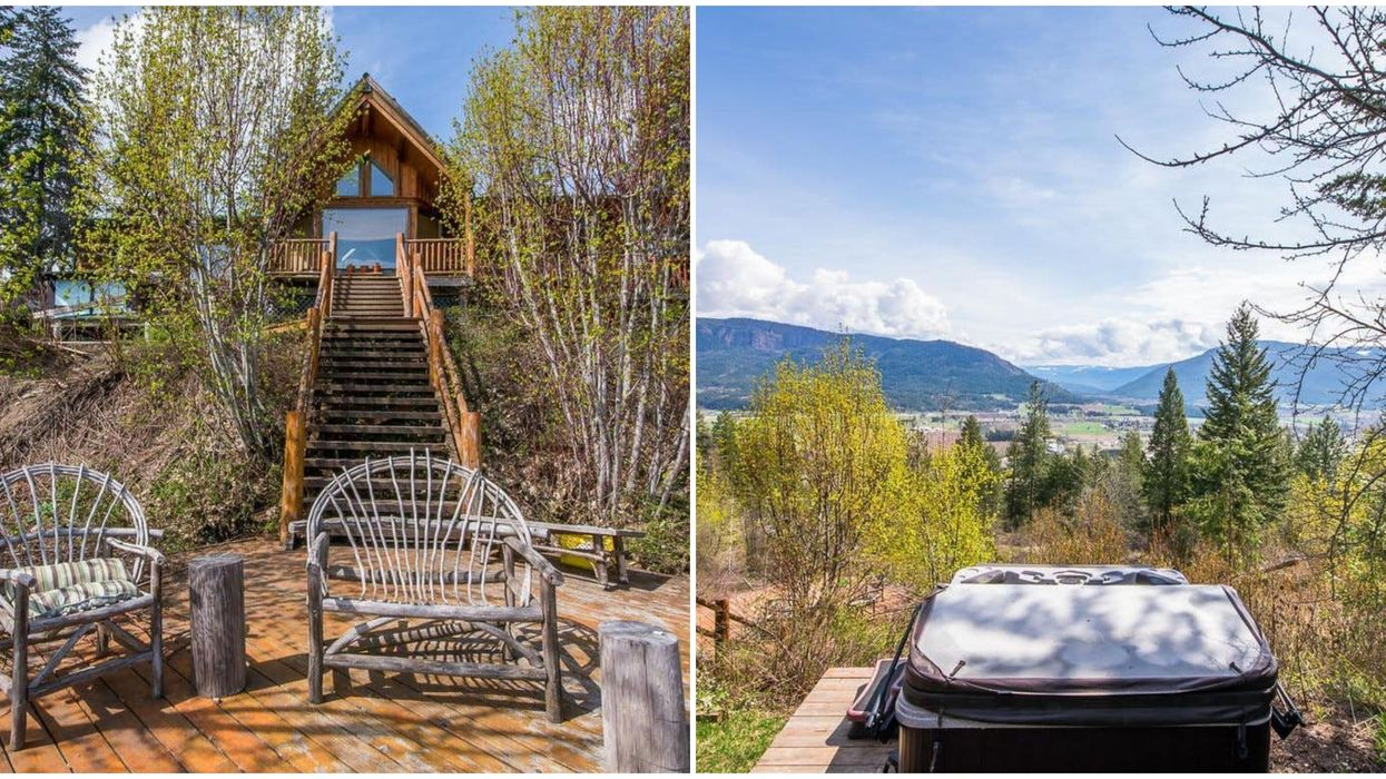 BC Real Estate: A Wood Cabin With A Hot Tub & Lake Views Is On Sale For $600K