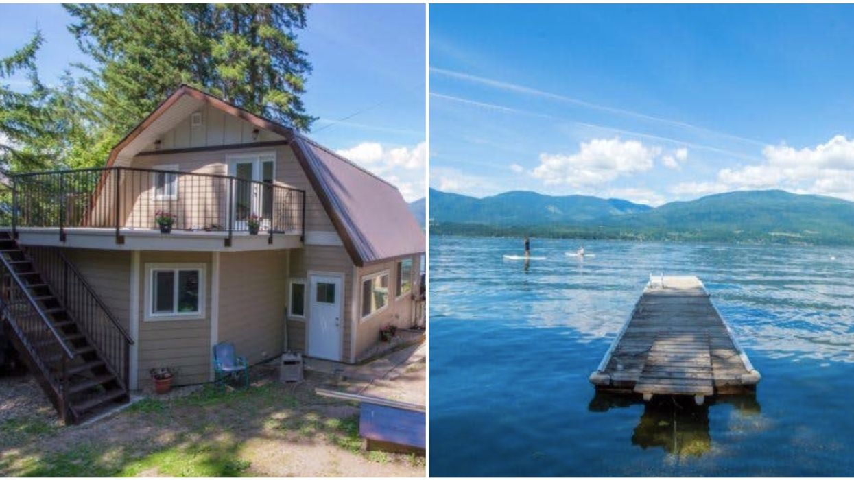 Retro BC Cabin For Sale Has A Beachside Patio & A Private Dock For All Your Tanning Needs