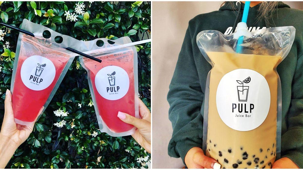 Pulp Juice Bar In California Sells Massive One-Gallon Bags Of Milk Tea