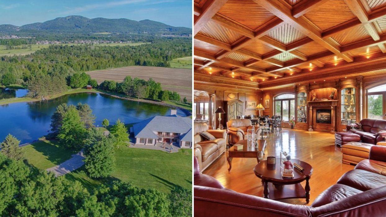 Ce manoir à Bromont vient avec un lac privé parfait pour tes bains de minuit