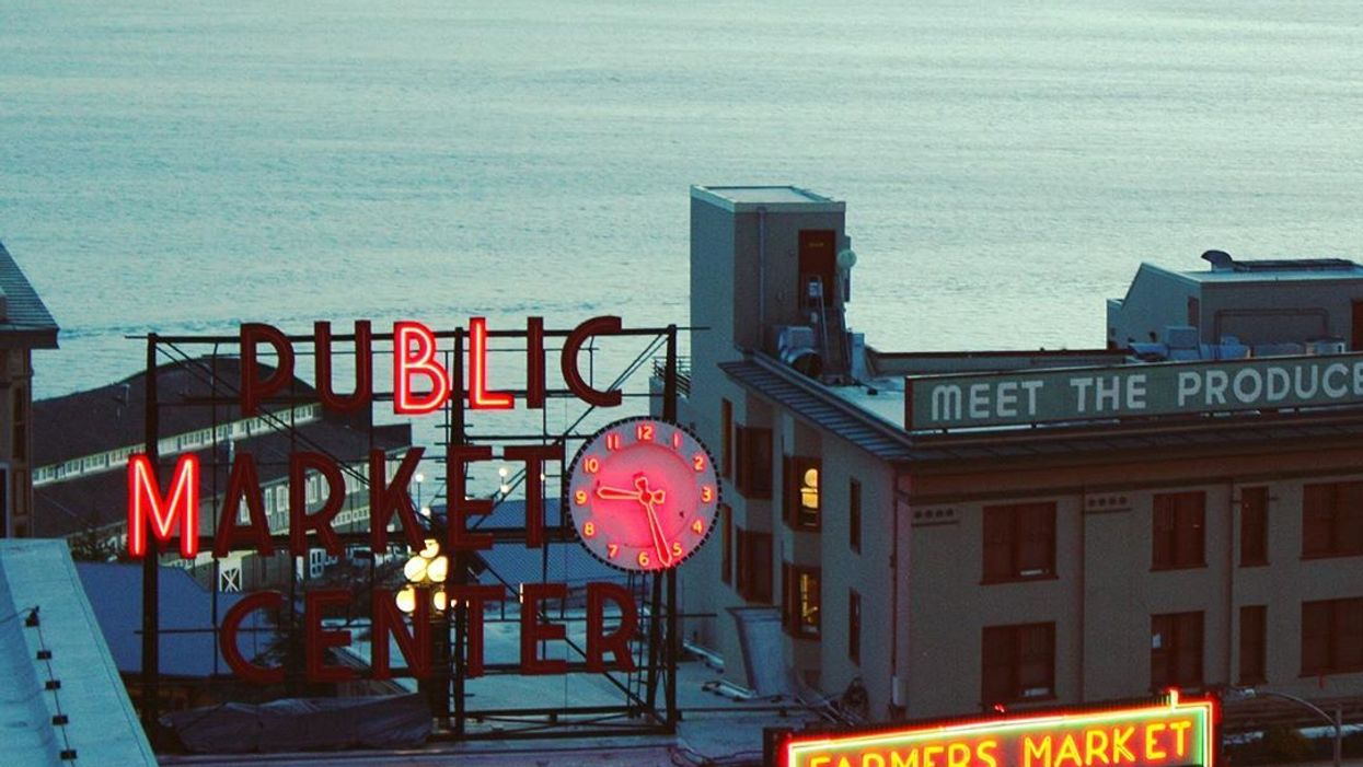 Seattle's Pike Place Market Dims Lights For Juneteenth To Read 'BLM' (PHOTOS)