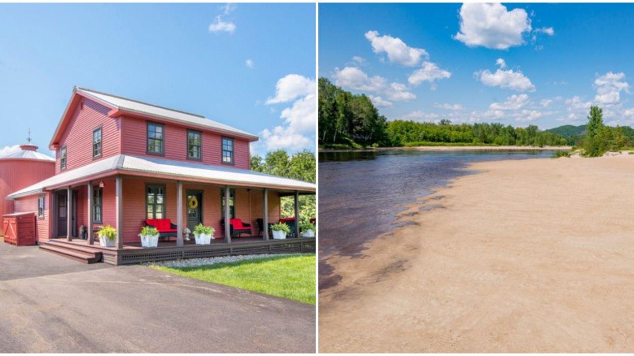 Maison de campagne rose à Brébeuf avec intérieur luxueux et plage privée