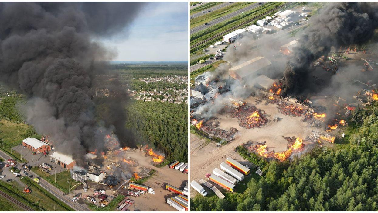Un incendie majeur au Palettes Pal Bois à Lévis nécessite l'intervention de 70 pompiers