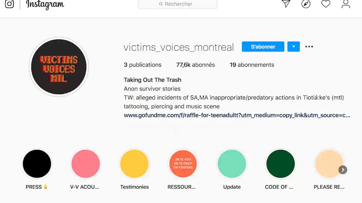 La page de dénonciations « Victims Voices Montréal » sur Instagram supprime tout