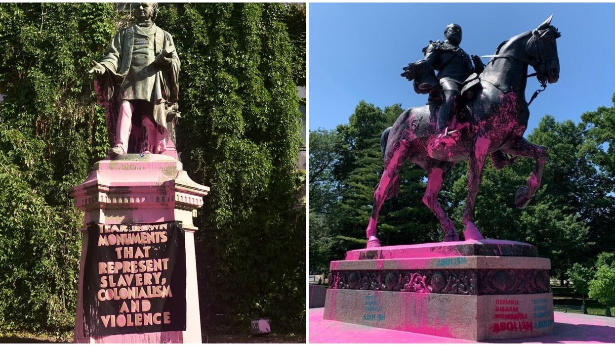 BLM Painted A Bunch Of Toronto Statues Pink & People Have Been Arrested (PHOTOS)