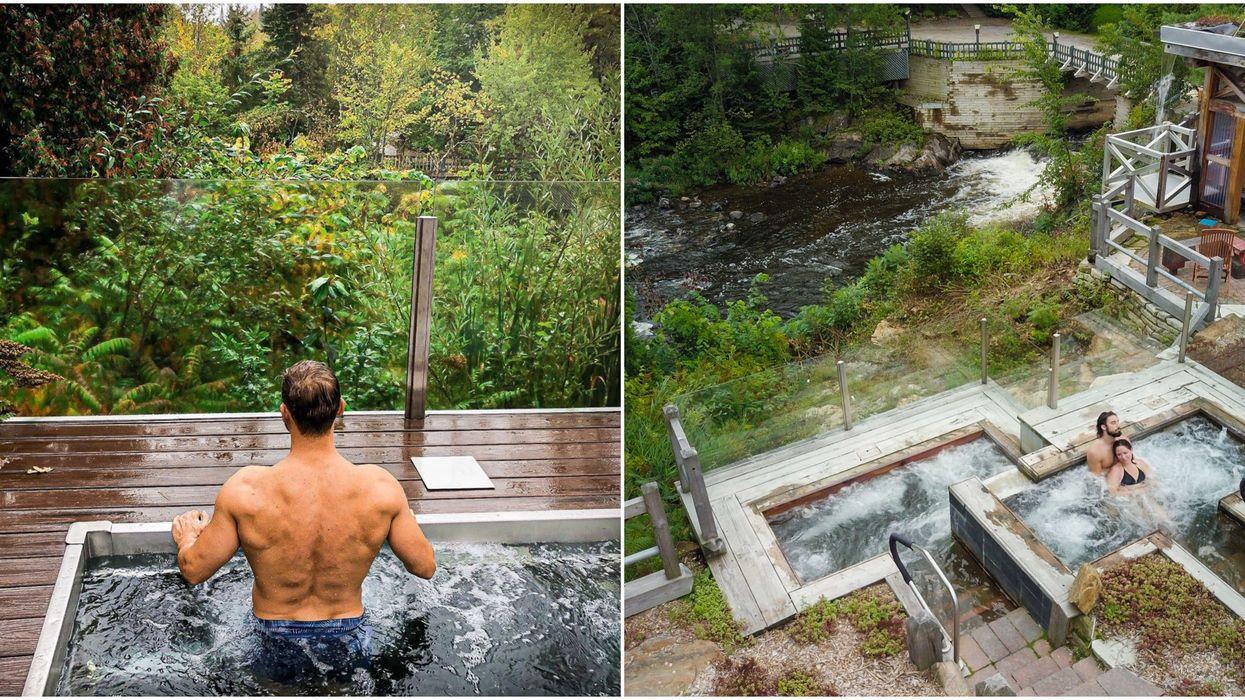 Ce petit spa ultra intime situé en pleine nature à 1 h 30 de Laval est une oasis de verdure