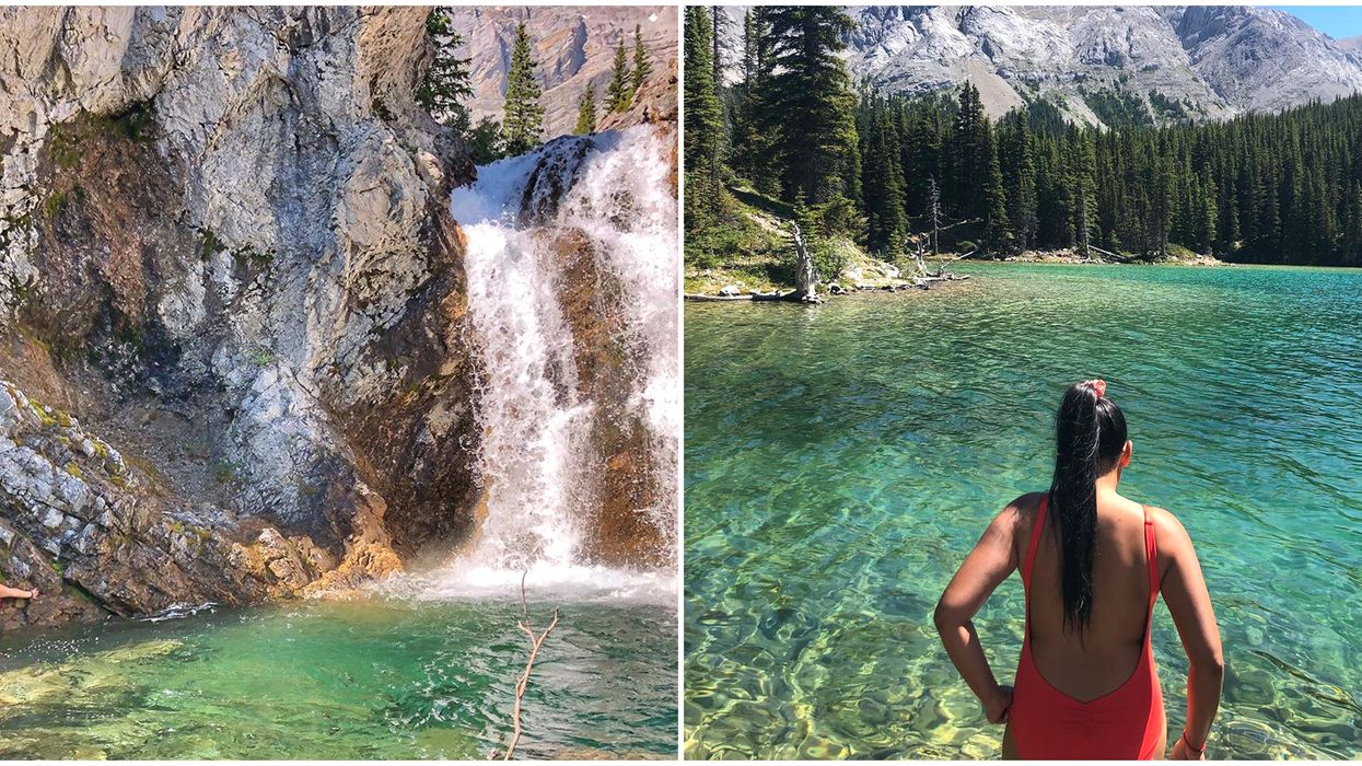 This Hike 2 Hours From Calgary Leads To A Waterfall Plunging Into A Crystal Clear Lake