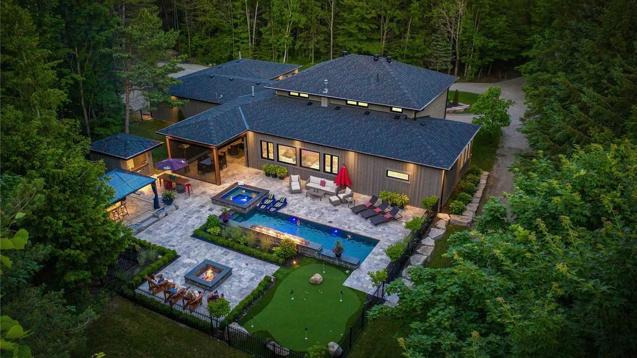Ontario's Waterfall Pool Home For Sale Lets You Swim With Fire