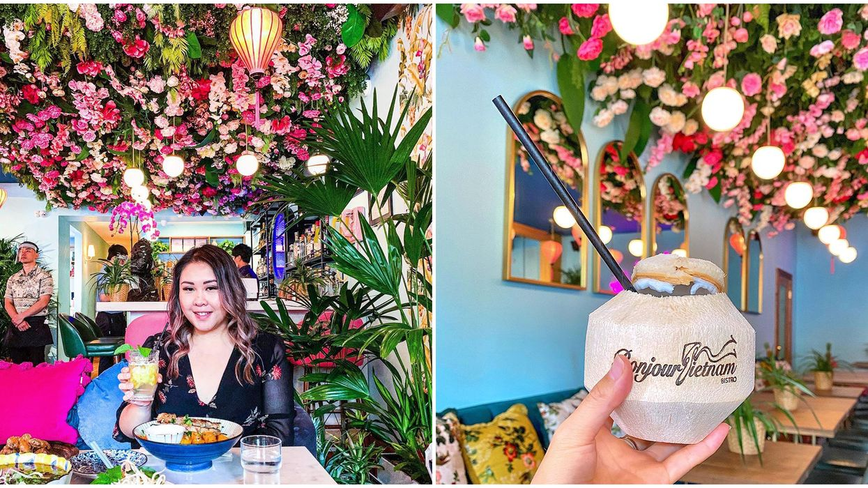 Vancouver's Garden Restaurant Is A Tropical Oasis With A Flower-Covered Ceiling