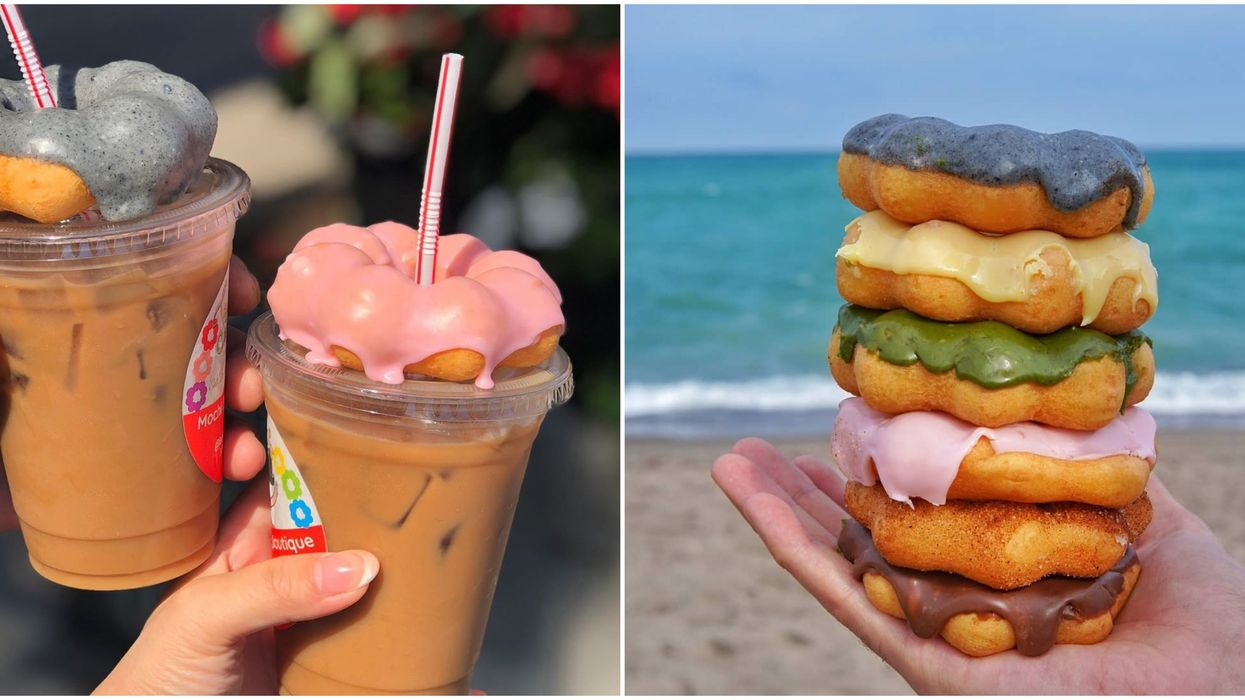 Mochi Donuts In Toronto On Top Of Iced Coffee Are A Dream Sweet-Treat Combo