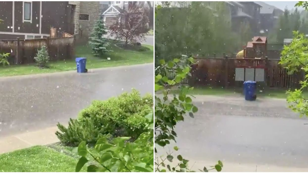 Calgary Hail Storm Caused A Blue Bin To Roll Tragically Through The Storm (VIDEO)
