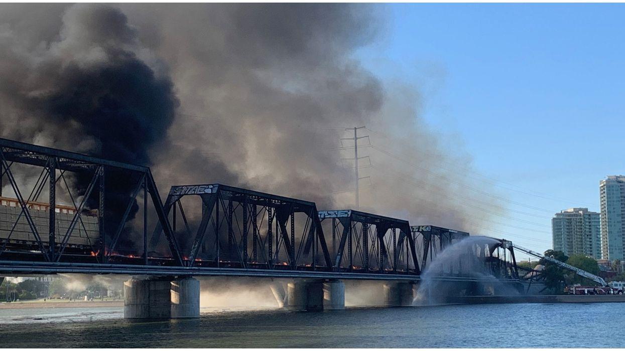 Tempe Town Lake Bridge Had A Train Derail & A Fire Broke Out