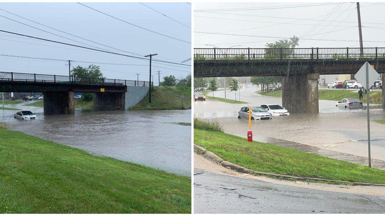 Une accumulation d'eau à Saint-Jean-sur-Richelieu bloque l'accès à des automobilistes