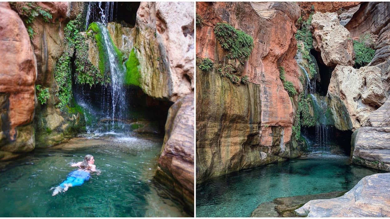 Grand Canyon National Park Backcountry Trail Leads To A Hidden Waterfall Oasis