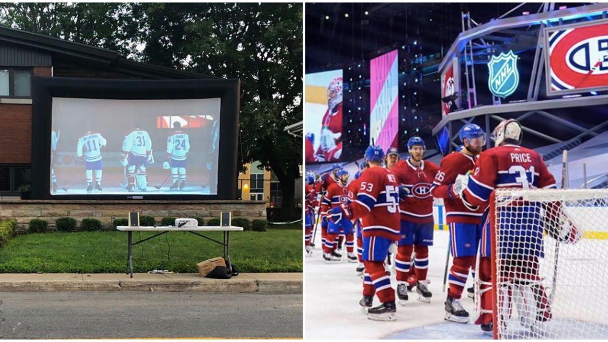 Des Montréalais se font un « set up » de rêve pour regarder le match du Canadien