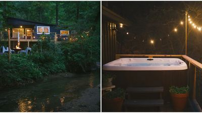 Cabin Airbnb Rental In Georgia Is Affordable With Scenic Creek Views From A Hot Tub