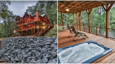 Waterfront Cabin Rental In Georgia Has Stunning Views And Hot Tub Deck For 14 Guests