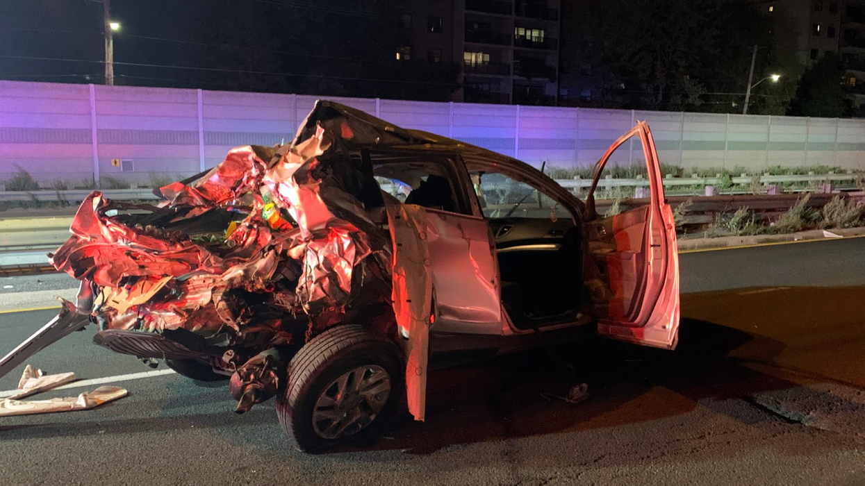 Ontario Provincial Police Want Answers After A Car Was Crushed On The Highway (PHOTO)