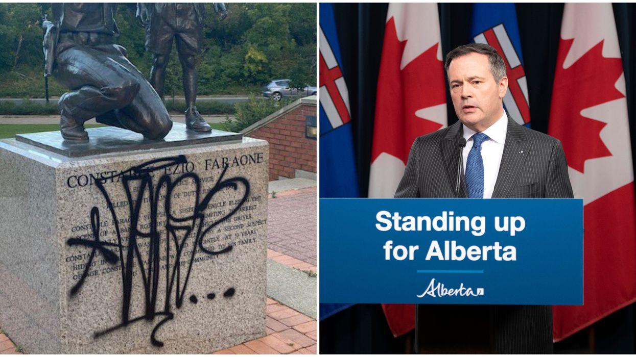 People Keep Defacing Alberta's Police Memorials & Jason Kenney Is Fuming