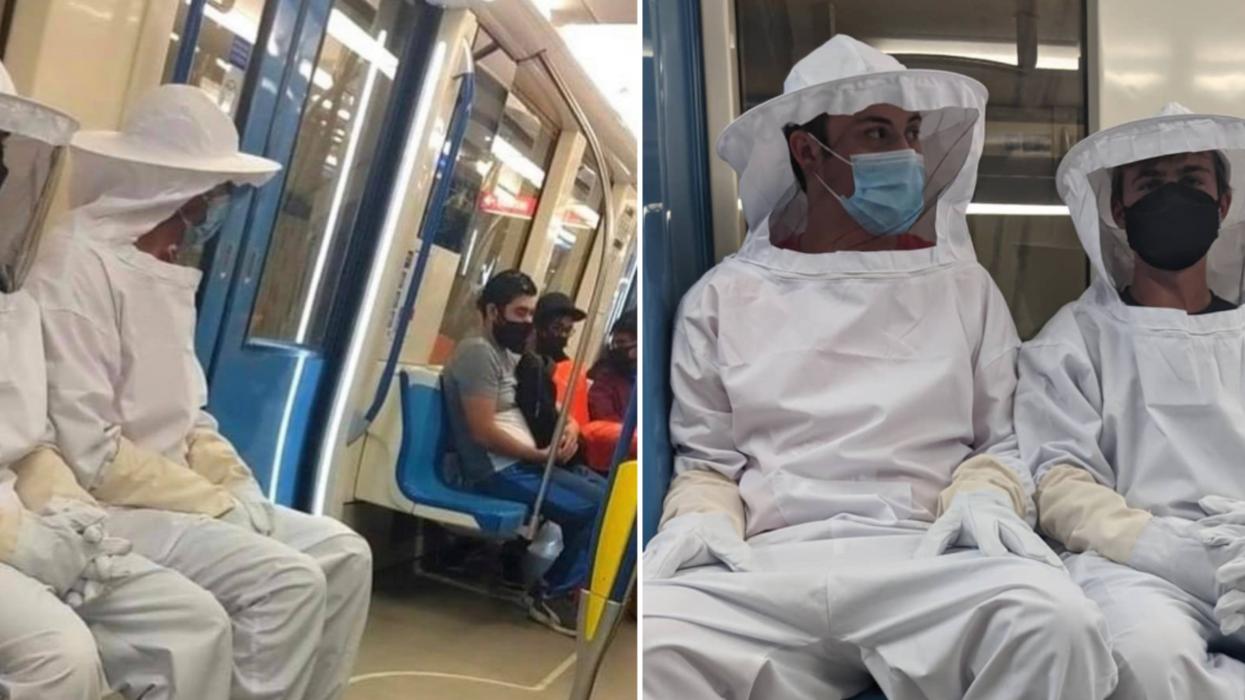 En habit d'apiculteur dans le métro de Montréal: Une blague qui fait jaser