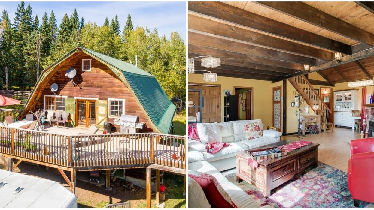 This Country Home For Sale In Alberta Is Hiding A Secret Hang-Out Space In The Barn