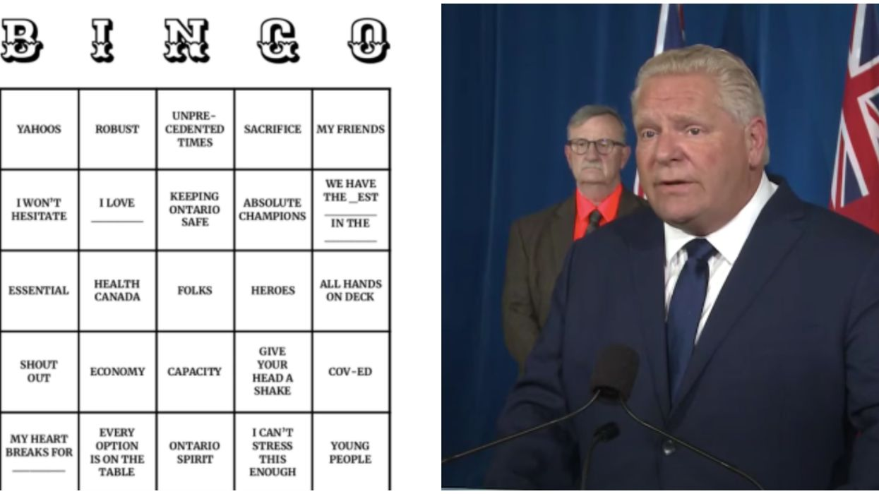 A Hamilton Woman Just Made A Doug Ford Bingo Card & It's Hilariously Spot On