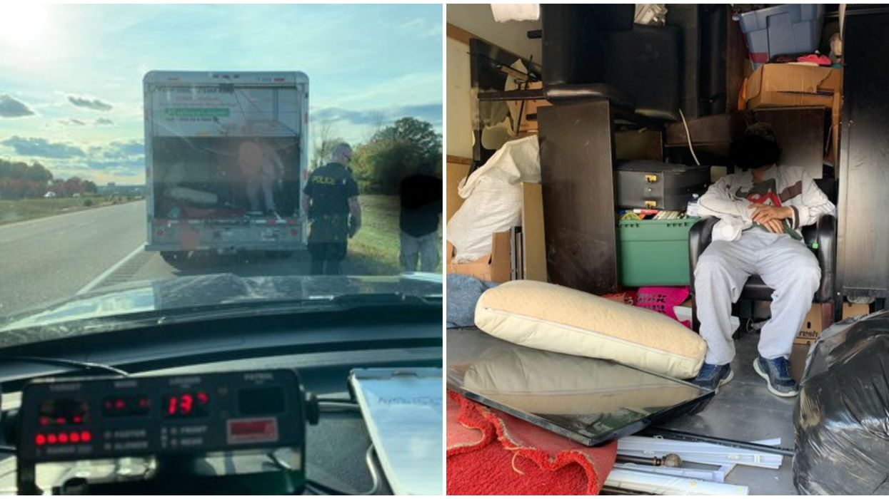 Ontario Driver Was Racing A Truck Down The 401 With A Guy Chilling In The Back (PHOTO)