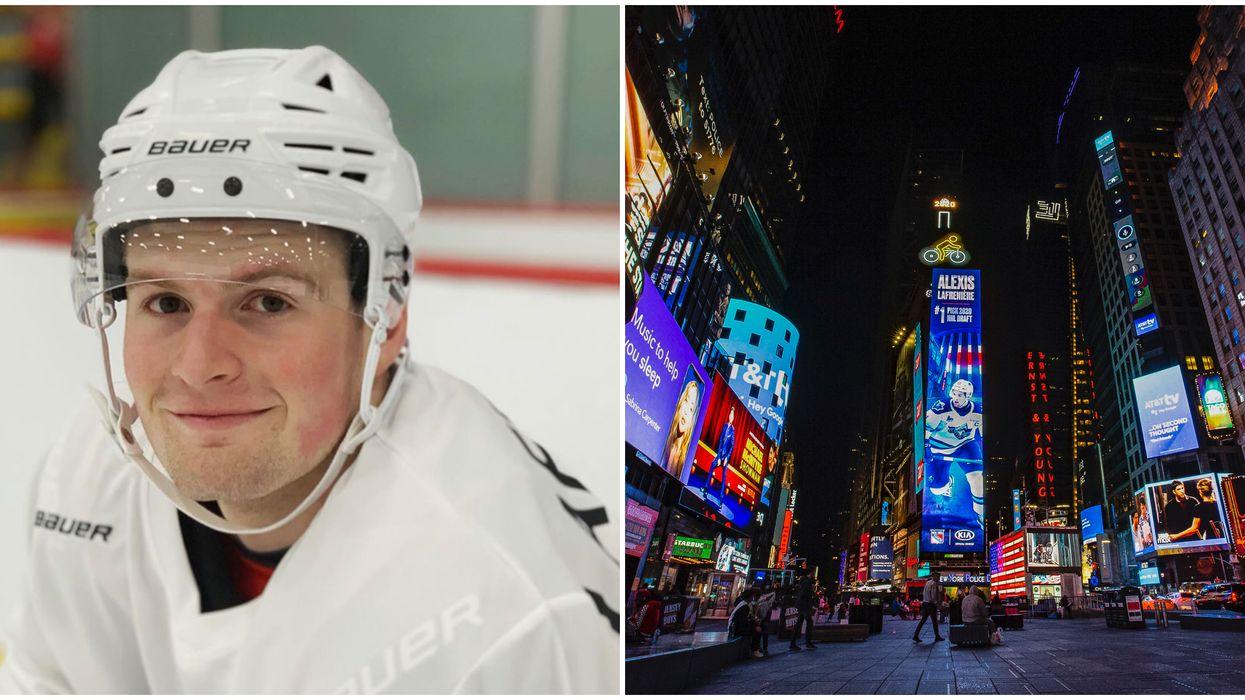 Alexis Lafrenière, le joueur de hockey québécois, a droit à son propre « billboard » à Times Square