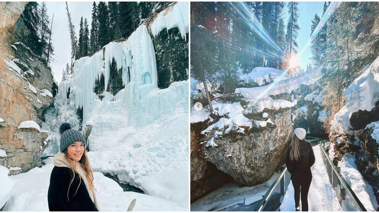 A Short Winter Hike In Alberta Leads To The Most Enchanting Frozen Canyon & Waterfall