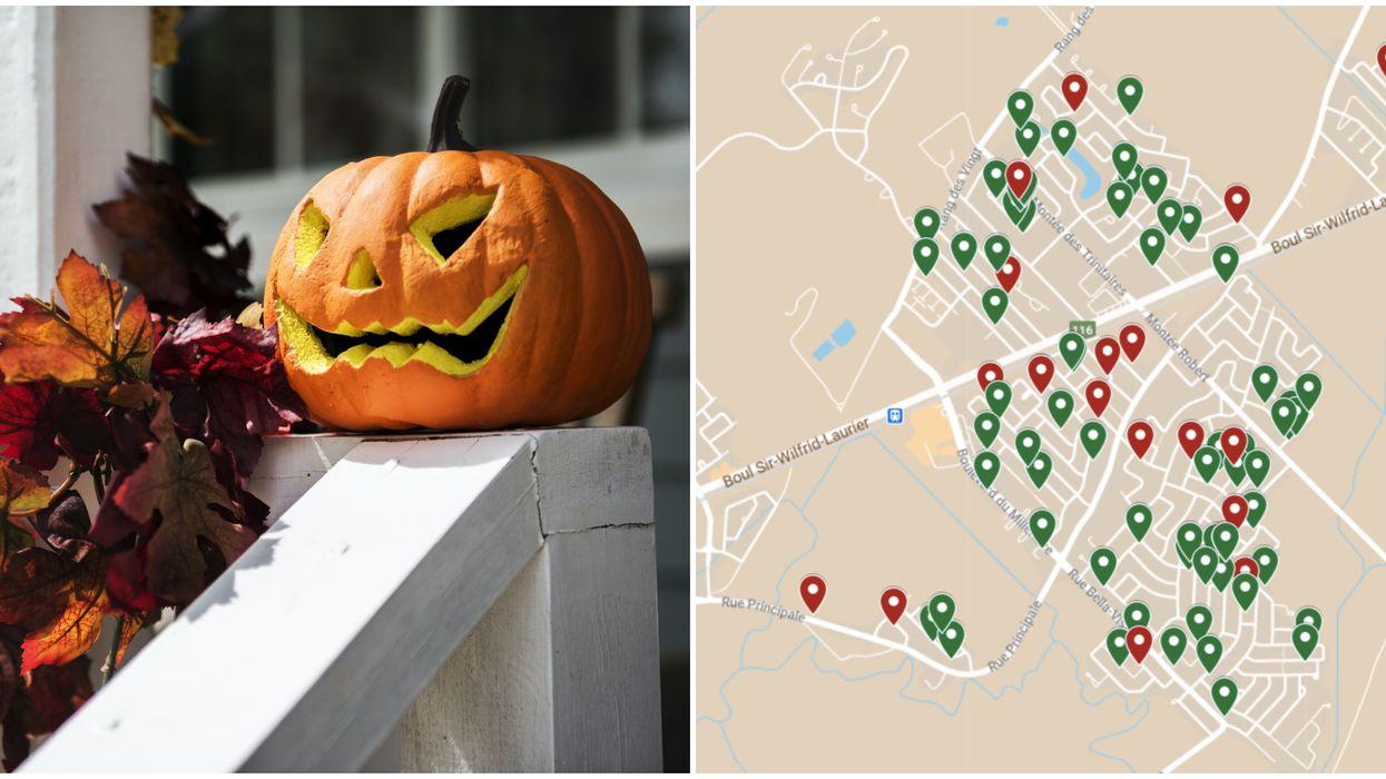 Cette carte indique quelles maisons distribueront des bonbons à l'Halloween au Québec