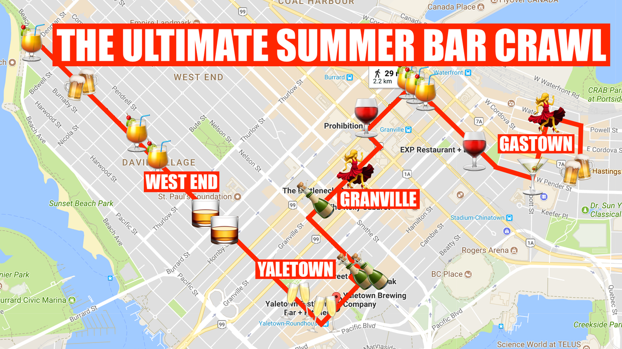 This Map Will Take You On The Most Epic Vancouver Summer Bar Crawl