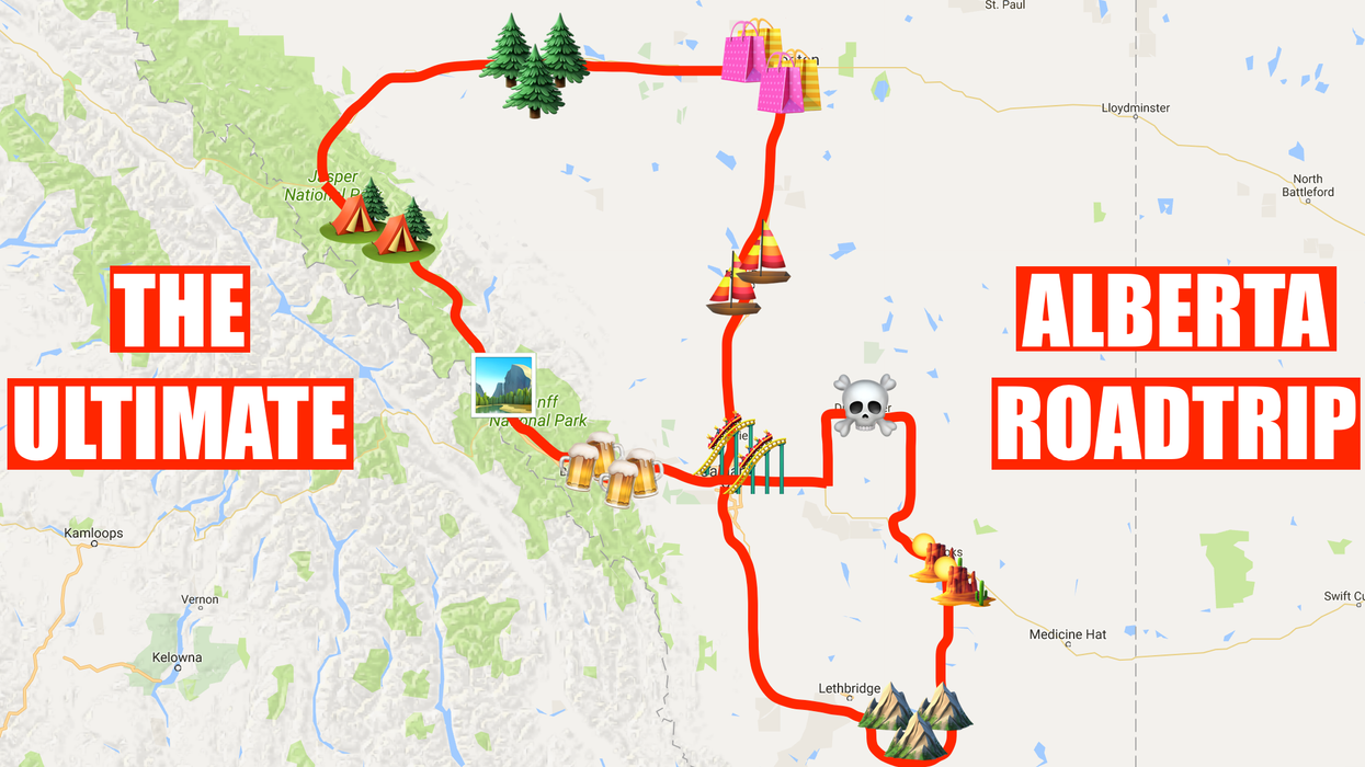 This Map Will Take You On The Most Epic Road Trip Through Alberta Anyone's Ever Been On