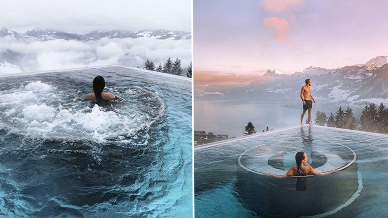 This Breathtaking Heated Infinity Pool In Switzerland Is Like Heaven On Earth