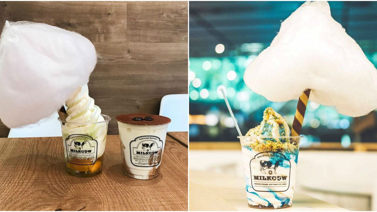This New Korean Dessert Cafe In Canada Serves Gigantic Cotton Candy Topped Soft Serve