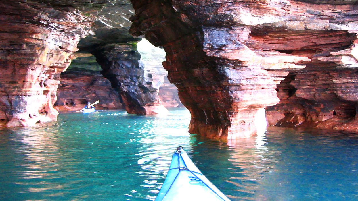 You Can Go Kayaking Through Ancient Sea Caves In Lake Superior